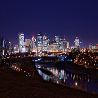 Downtown Edmonton Skyline at Night